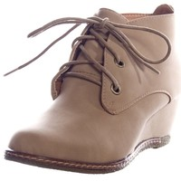 Nature Breeze Willow-01 NuBuck Round Toe Lace Up Wedge Boots Beige (10)