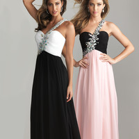 Night Moves by Allure 2013 Prom Dresses - Black & White Chiffon Rhinestone One Shoulder Prom Dress