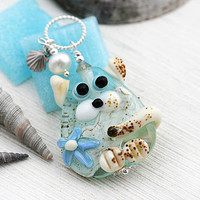 Beach Lover gift, Cat Necklace with pearl and shell charm, Kitten Pendant, Cat Jewelry, Handmade Lampwork glass, Beach Jewelry, Adoptable