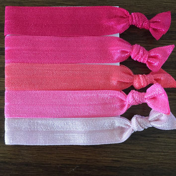 Pretty In Pink Elastic Hair Ties / Breast Cancer Awareness / Elastic Hair Ties / Pink Ombré / Knotted Hair Ties / Yoga Ties
