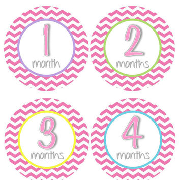 Monthly Onesuit Stickers Girl Baby Month Stickers Hot Pink Chevron Baby Onesuit Stickers Month Stickers Baby Shower Gift Photo Prop Jayne