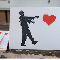 Zombie Love valentine's day cards set of 4 eco friendly 8 bit zombies wedding anniversary cards