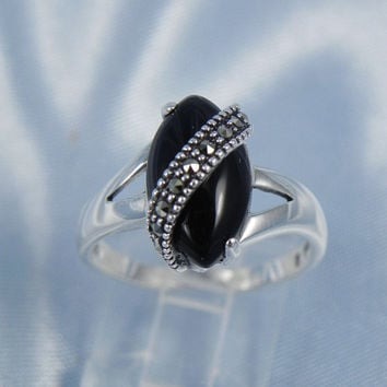 Black Onyx Marcasite Sterling Ring by hollywoodrings on Etsy