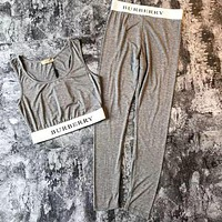 "Hot Sale ""Burberry"" Fashion Women Comfortable Sport Gym Yoga Vest Tank Top Pants Trousers Set Two-Piece Sportswear Grey I-YF-MLBKS"