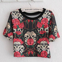 Rose Skull Head Print Short Sleeve Graphic Cropped T-shirt