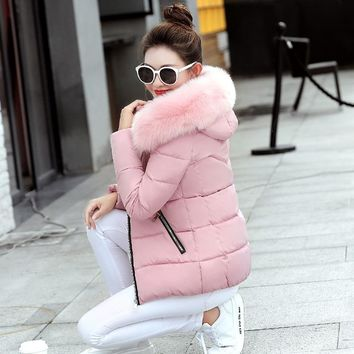 Hooded Winter Jacket Women 2017 Fur Collar Coat Female Jacket Winter Parkas Women Cotton Padded Jacket Quilted Cheap Winter Coat