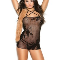 Elegant Moments EM-1362 Lace babydoll and matching g-string