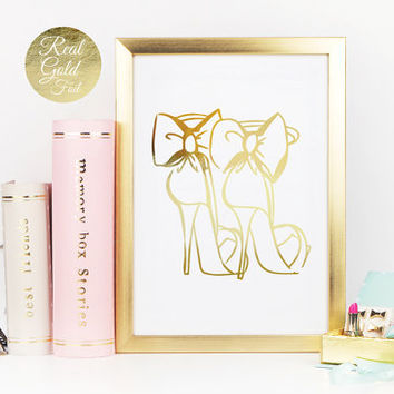 High Heels Print, Fashion Print, Real Gold Foil, Shoe Print, Funny Wall Decor, Bedroom Decor, Minimal Art, Typography Poster, Shoe With Bow