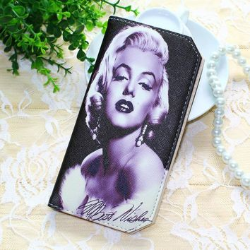New Women Wallets Lady Purses Credit Cards ID Holder Marilyn Monroe Pattern Money Burse Bags Female Long Clutch Purse Wallet Bag
