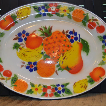Vintage Serving Tray Metal White Enamel with Colorful Fruit, Retro Kitchen, Retro Serving Platter , Vintage Fruit Kitchen Decor,