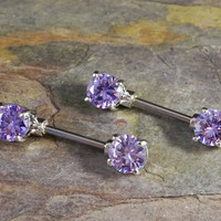 Purple Crystal Nipple Barbell Jewelry Barbell
