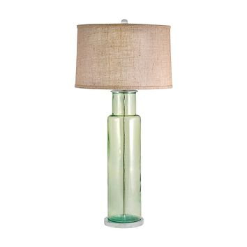 216G Recycled Glass Cylinder Table Lamp In Green