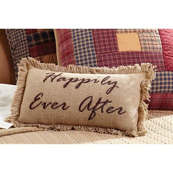 Burlap Natural Happily Ever After Pillow
