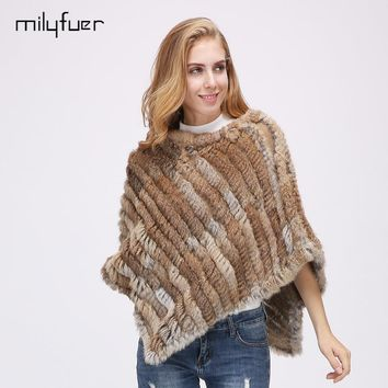 Milyfuer Real Rabbit Fur Shawl Knitted Scarves For Women Winter Warm Outerwear Real Fur Scarf Rhombus Pullover Rabbit Fur Shawl