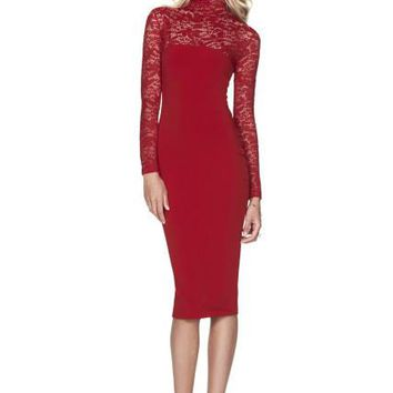 Turtle Neck Floral Lace Sleeve Patchwork Long Sleeve Bodycon Autumn Dress Women Elegant Pencil Dress Party Fashion 2017 Quality