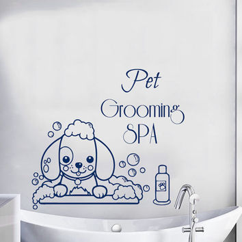 Pet Grooming Spa Wall Decals Pet Shop Vinyl Stikers Dog Decal Bath And Beauty Art Mural Home Design Interior Animals Bathroom Decor KY49
