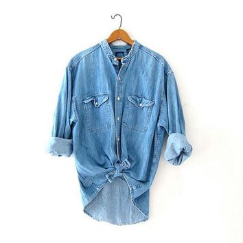vintage jean shirt. oversized denim pocket shirt. worn in denim shirt. collarless jean shirt. boyfriend shirt.