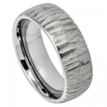 8mm Tungsten Wedding Band Semi Domed Ring with Tree Bark Carved Textured Finish