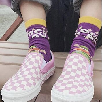 Vans Slip-On Classic Popular Women Men Casual Old Skool Checkerboard Canvas Sneakers Sport Shoes Pink I-A36H-MY