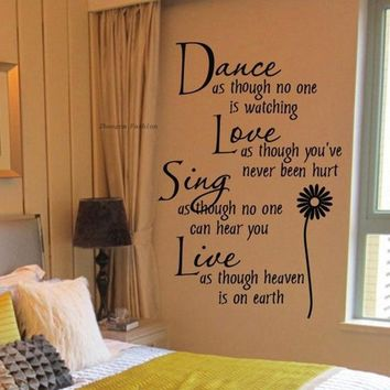 New Fashion Hot Home Decoration Dance Love Sing Live Wall Sticker Quotes Decals Removable Stickers Decor Vinyl Art Stickers HG-W