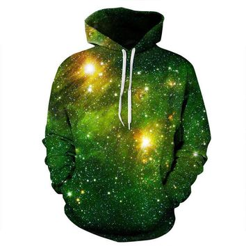 Green Celestial Star Night Outer Space Galaxy Astronomy Hoodie Sweater