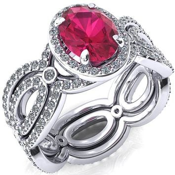 Polaris Oval Lab-Created Ruby 4 Claw Prongs Diamond Halo Full Eternity Accent Ring
