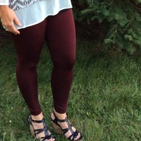 Burgundy Leggings - Plus Size