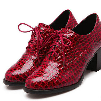 Fashion Crocodile Patent Leather High Heels Oxford Shoes For Women Plus Size 34-43 Thick Heel Neutral Retro Casual Shoes Pumps Alternative Measures