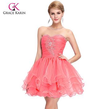 Cute Back to School Short Prom Dresses 2017 Grace Karin Sequins Homecoming Ball Gown Pink Purple Puffy Dancing Party Dress 6077