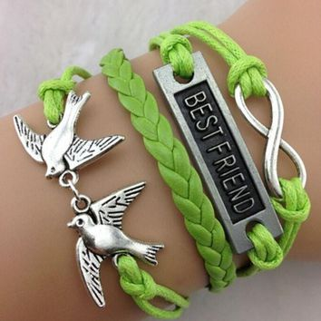 NEW Hot Fashion BEST FRIEND Leather Cute Charm Bracelet plated silver