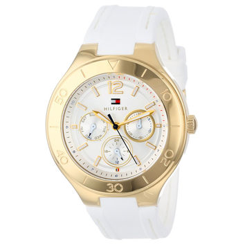 Tommy Hilfiger 1781329 Women's Piper Sport Luxury White Dial White Rubber Strap Watch