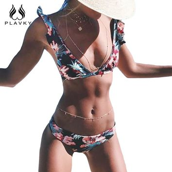 Summer Sexy Lady Black Floral Ruffled Bikini Swim Wear Beach Bathing Suit Swimsuit Swimwear Women Bikini