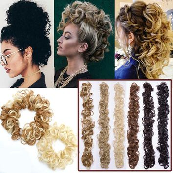 Real Natural Curly Messy Bun Hairpiece Scrunchie Hair Extensions as Human A9EC