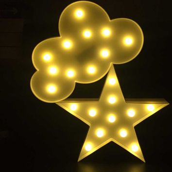 3D Marquee Cloud Led Night Light Warm White Star Christmas Tree Table Lamps For Kids Children Gift Party Wedding Room Decoration