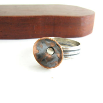 Embossed Copper and Sterling Poppy Ring Handmade Metal Jewelry Riveted Metal Ring Sterling Silver and Copper Flower Ring Size 4.75