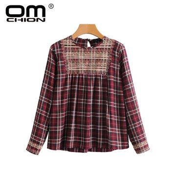 OMCHION Blusa 2018 New Spring Summer Vintage Women Blouses Long Sleeve Plaid Female Tops Fashion Embroidery Red Shirts LK37