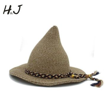 CREYWQA 21CM Top Hat Women Men Gandalf Witch Wizard Cosplay Party Carnival Halloween Braided Rope Ribbon Act Carnival Straw Hat Sun Cap