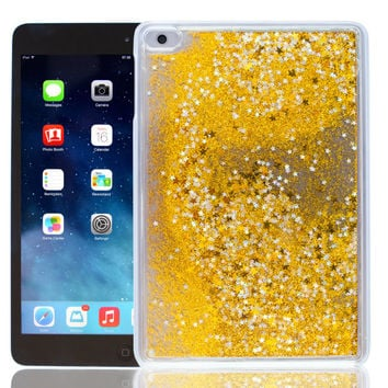 Moving Glitter!! - iPad Mini Gold Liquid Glitter Case