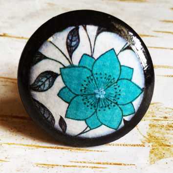 Blue Deco Flower Knob Drawer Pulls, Handmade Floral Cabinet Pull Handles, Flower Art Dresser Knobs, Made To Order