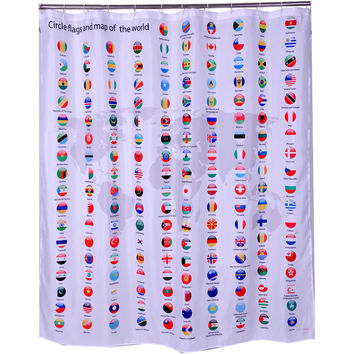 World Flags and World Map Shower Curtain