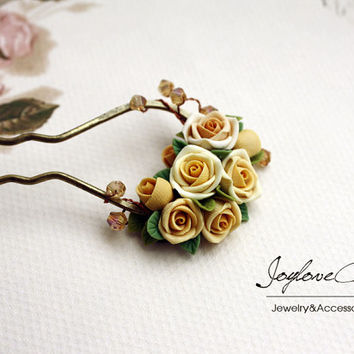 yellow polymer clay rose hair stick, hair accessories ,handmade flowers