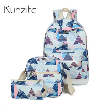 KUNZITE 3Pcs/Sets Korean School Backpacks Women High Quality Canvas Backpacks Laptop Girls Preppy Style Bookbag Travel Back Pack