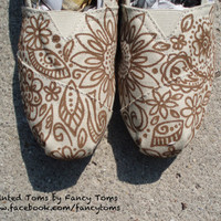 Handpainted Custom TOMS Shoes Floral Design by FancyToms on Etsy