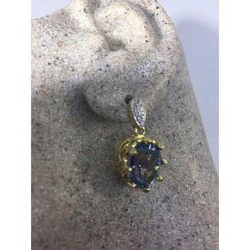 Nemesis Vintage Handmade golden 925 Sterling Silver Deep Blue Mystic Topaz earrings