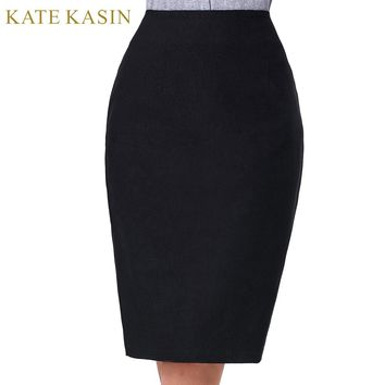Kate Kasin 2017 Black Skirt Women High Waist Pencil Skirts With Zipper Laidies Knee Length Bodycon Skirt Office Business Split