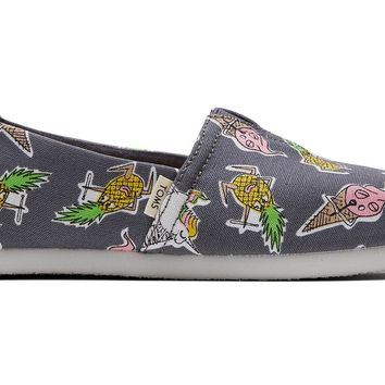 TOMS - Youth Classics Forged Iron Grey Rockband Print Slip-Ons