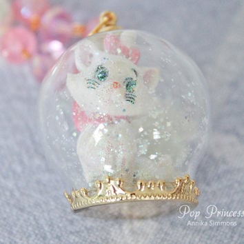 Special Edition: Marie Cat from Aristocats Snow Globe Necklace Terrarium with glitter hearts, stars, snow