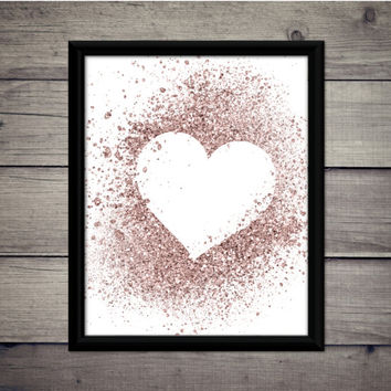 Glitter Heart - Valentine's Day - Romantic Print - Instant Download - Digital Art - Printable - Wedding Decor - Gift - Love - Rose Gold
