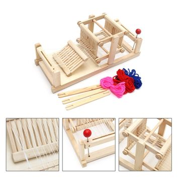 New Large Chinese Traditional Wooden Table Weaving Loom Machine Model Hand Craft Toy Gift For Children Adult