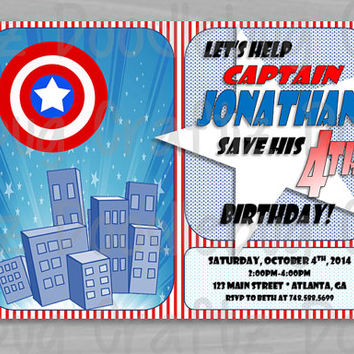 Captain America Superhero Birthday Party Invitations --- Personalized with 24hr turn-around. Printable 4x6 or 5x7 Image!